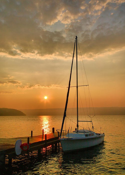 Dawn Greeting Card featuring the photograph Sailboat And Sunrise by Steven Ainsworth