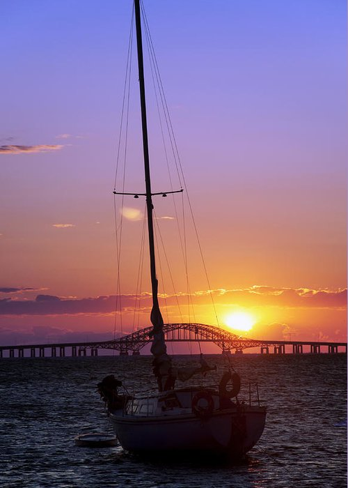 Sailing Greeting Card featuring the photograph Sailboat And The Bridge At Sunrise by Vicki Jauron