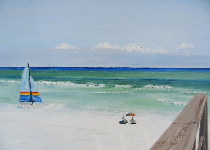 Seascape Greeting Card featuring the painting Sailboat At Blue Mountain Beach by John Terry