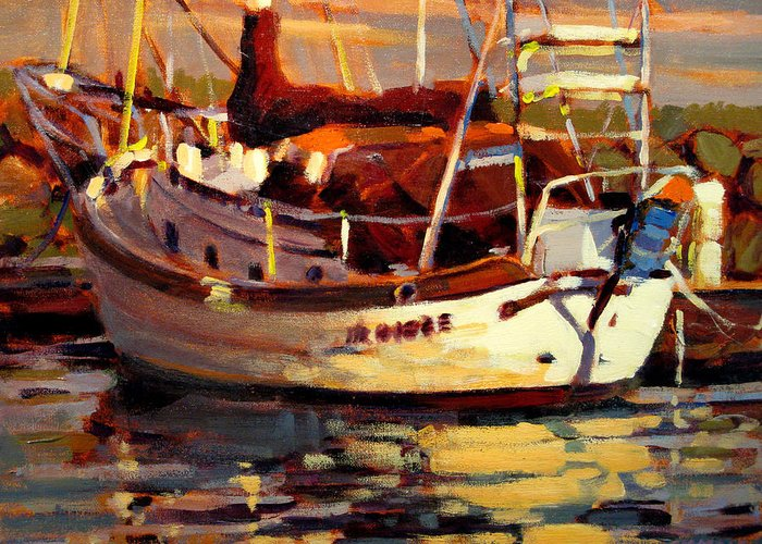 Sailboat Paintings Greeting Card featuring the painting Sailboat by Brian Simons