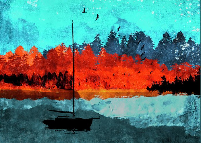 Boat Silhouette Mixed Media Greeting Cards