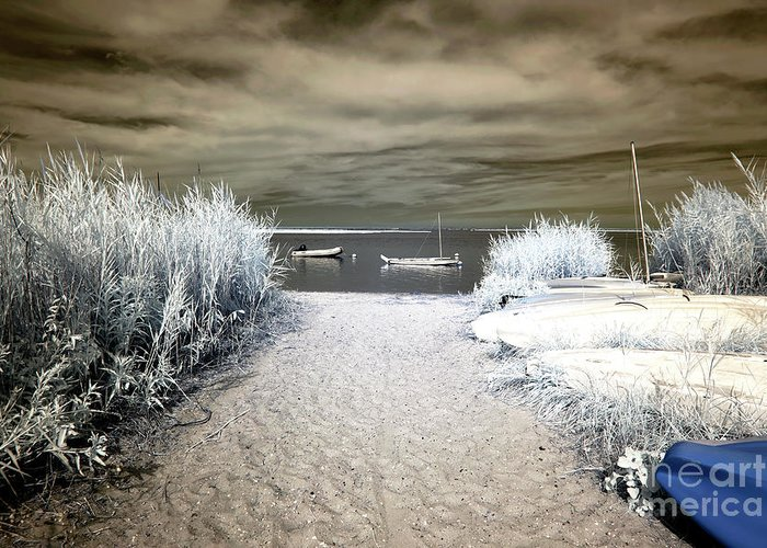 Sailboat Entry Infrared Brown Greeting Card featuring the photograph Sailboat Entry Infrared Brown by John Rizzuto