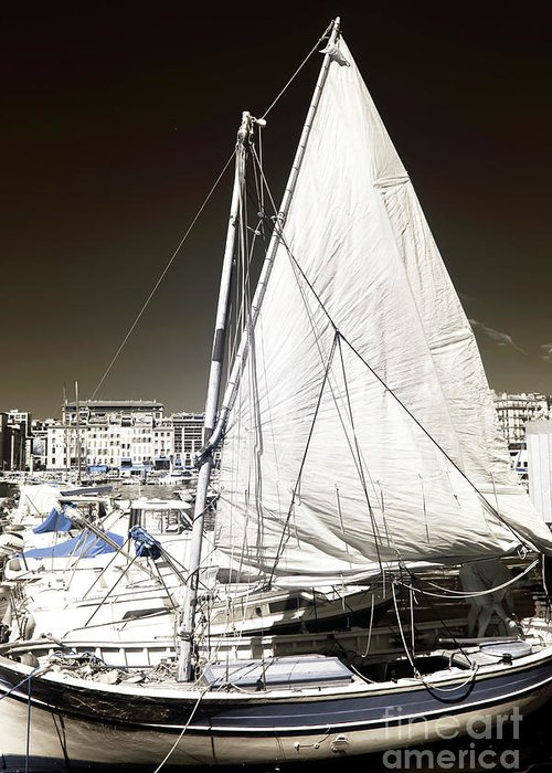 Sailboat In Vieux Port Greeting Card featuring the photograph Sailboat In Vieux Port by John Rizzuto