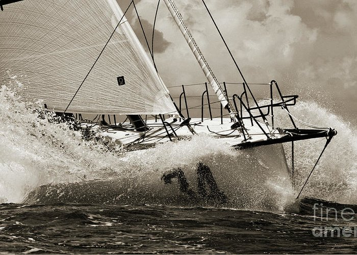 Sailboat Greeting Card featuring the photograph Sailboat Le Pingouin Open 60 Sepia by Dustin K Ryan
