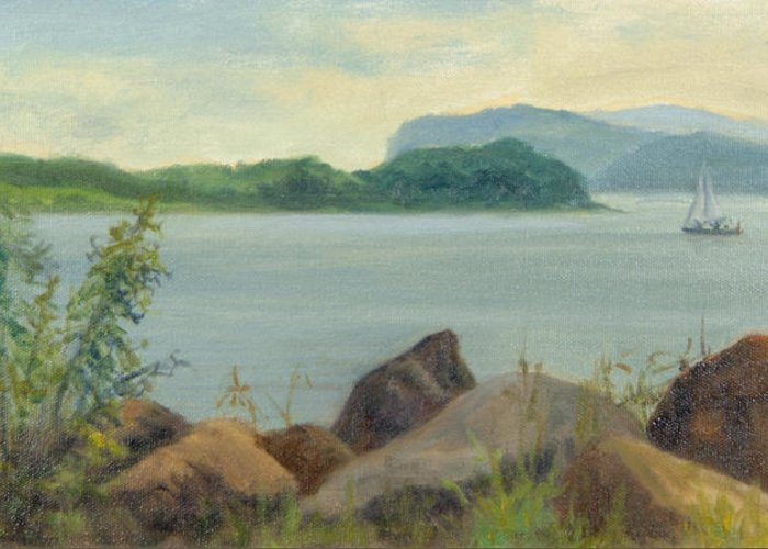 Oil Landscape Greeting Card featuring the painting Sailboat Near Croton Landing by Phyllis Tarlow