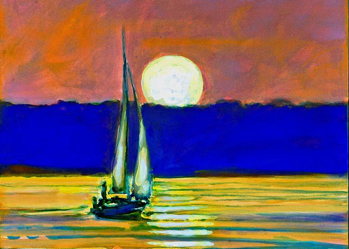 Sailboat Painting Greeting Card featuring the painting Sailboat With Moonlight by Kip Decker
