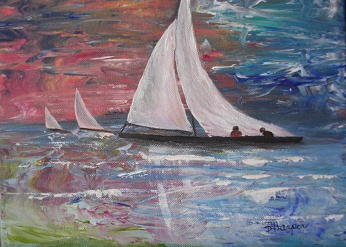 Ocean Greeting Card featuring the painting Sailboats At Sunrise by Barbara Harper