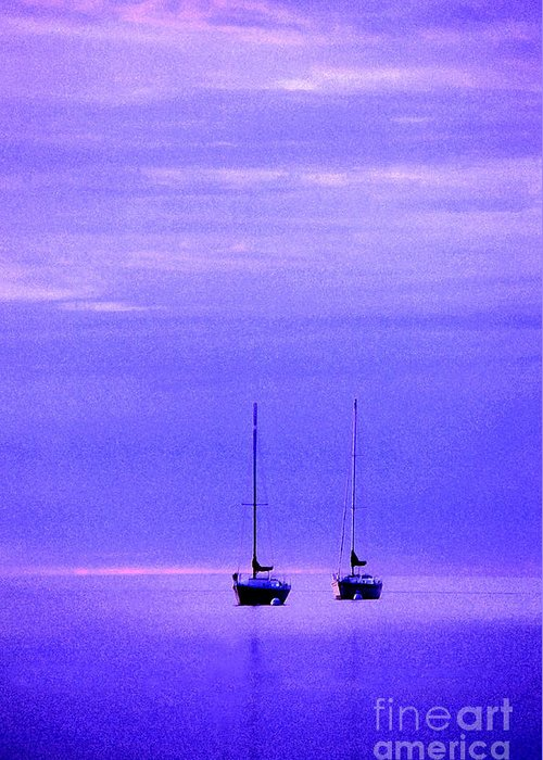 Sailboats Greeting Card featuring the photograph Sailboats In Blue by Timothy Johnson