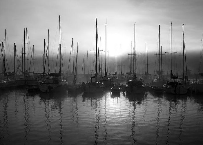 Sailboat Harbor Black And White Greeting Card featuring the photograph Sailboats In Harbor 1 by Kevin Mitts