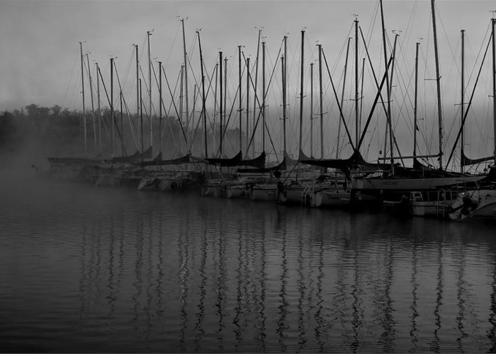 Sailboat Harbor Fog Black And White Greeting Card featuring the photograph Sailboats in Harbor 2 by Kevin Mitts