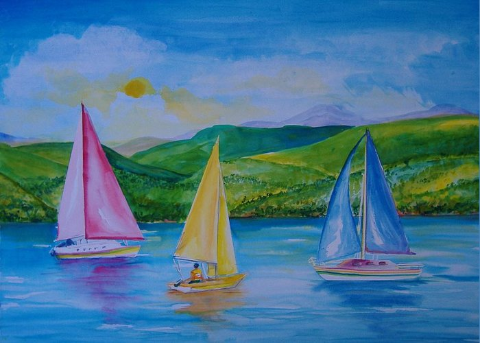 Sailboats Greeting Card featuring the painting Sailboats by Laura Rispoli