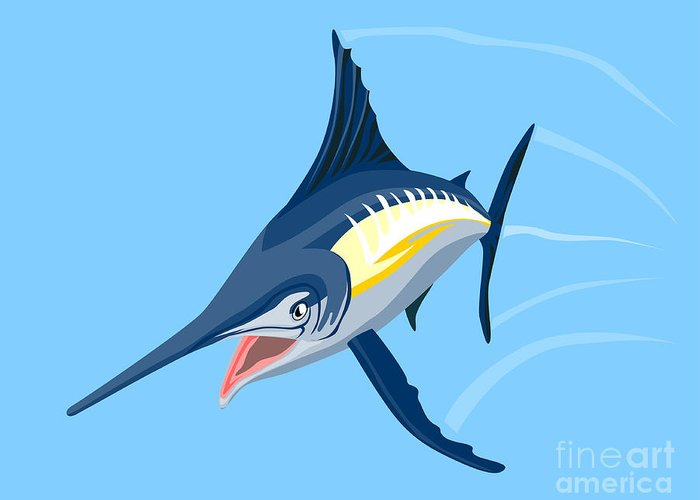 Fish Greeting Card featuring the digital art Sailfish Diving by Aloysius Patrimonio