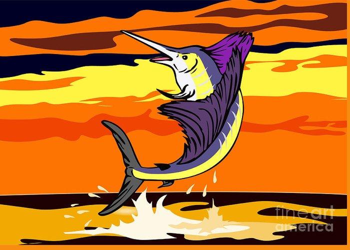 Sailfish Greeting Card featuring the digital art Sailfish Jumping Retro by Aloysius Patrimonio