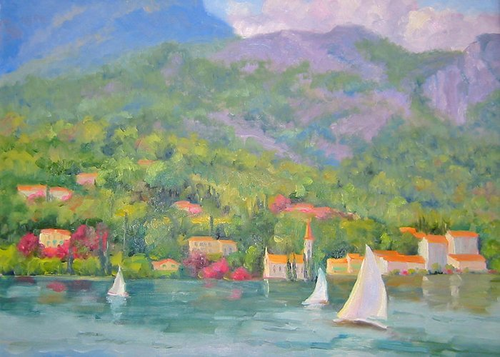 Seascape Greeting Card featuring the painting Sailing - Lake Como by Bunny Oliver