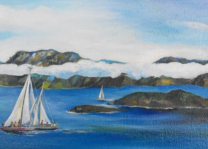 Sailing Greeting Card featuring the painting Sailing 2 by Min Wang