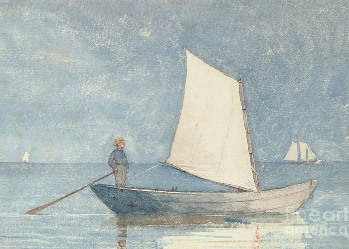 Boat Greeting Card featuring the painting Sailing A Dory by Winslow Homer