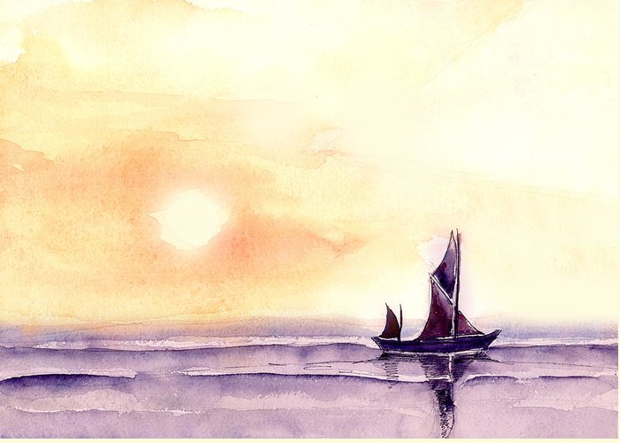 Nature Greeting Card featuring the painting Sailing by Anil Nene