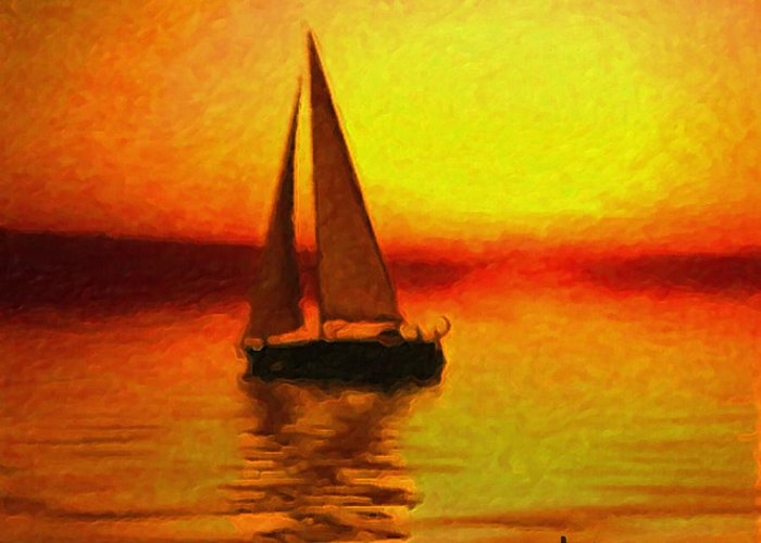 Sail Greeting Card featuring the painting Sailing At Sunset by Anthony Caruso