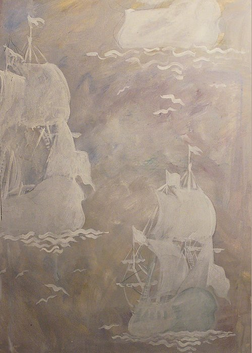 Ship Greeting Card featuring the drawing Sailing Away by Kseniya Nelasova