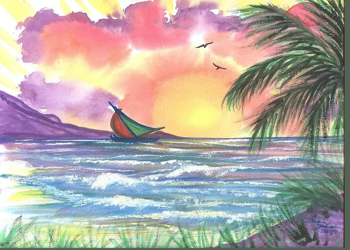 Tropical Seascape Greeting Card featuring the painting Sailing Away by Laura Johnson