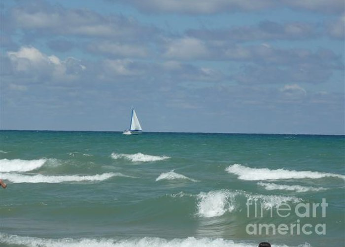 Scenery Greeting Card featuring the photograph Sailing Away On The Lake by Barb Montanye Meseroll