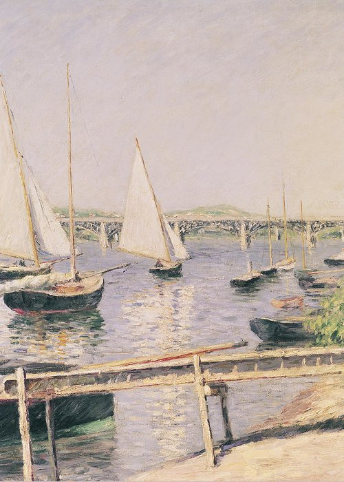 Yachting Greeting Card featuring the painting Sailing Boats At Argenteuil by Gustave Caillebotte