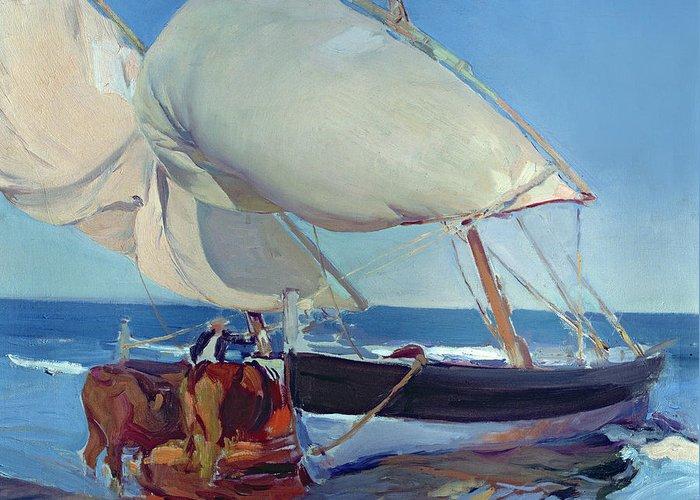 Boat Greeting Card featuring the painting Sailing Boats by Joaquin Sorolla y Bastida