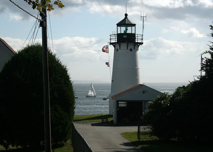 Light House Greeting Card featuring the photograph Sailing By The Lighthouse by Jeff Porter