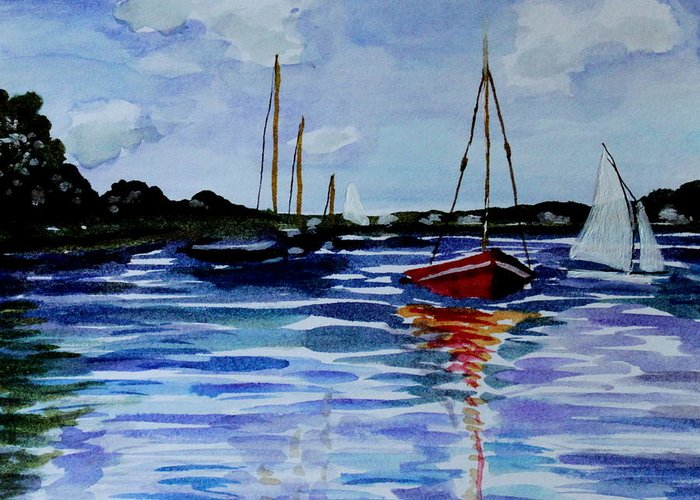 Sailing Greeting Card featuring the painting Sailing Day by Elizabeth Robinette Tyndall