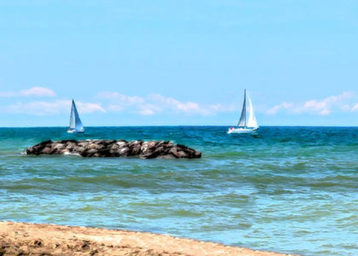 Lake Erie Greeting Card featuring the photograph Sailing Days On Lake Erie Panorama by Randy Steele