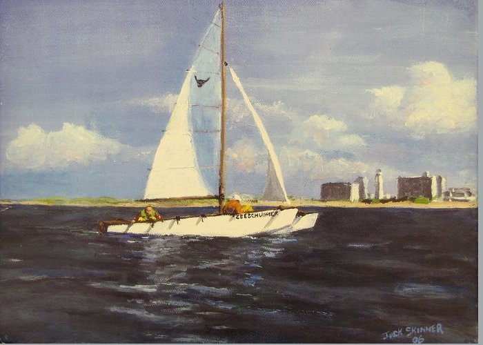 Sailboat Greeting Card featuring the painting Sailing In The Netherlands by Jack Skinner