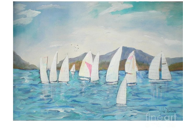 Lake Scene Greeting Card featuring the painting Sailing Lake Washington by Hal Newhouser