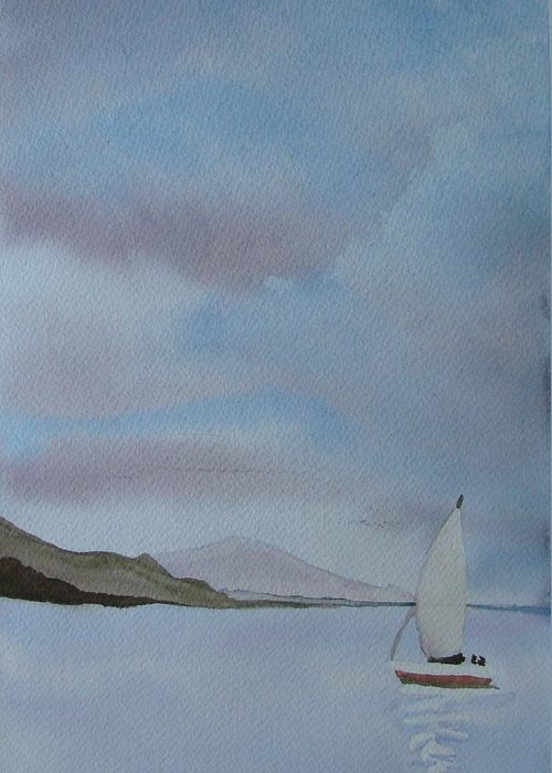 Sailboat Greeting Card featuring the painting Sailing by Liz Vernand