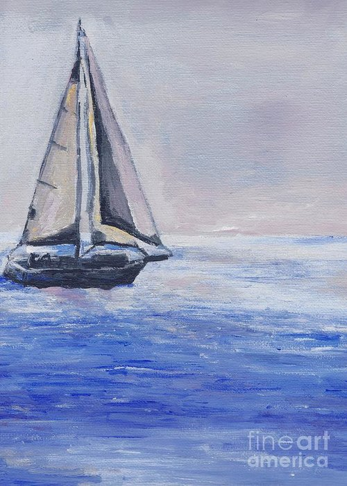 Sunset Greeting Card featuring the painting Sailing Off Cape May Point by Eric Schiabor