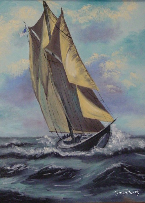 Ocean Greeting Card featuring the painting Sailing by Quwatha Valentine