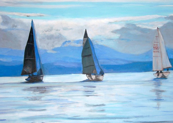 Boat Greeting Card featuring the painting Sailing Race by Teresa Dominici