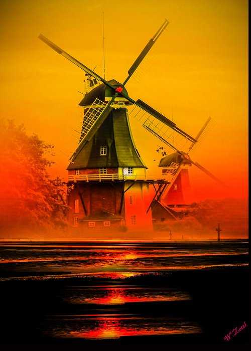 Sunset Greeting Card featuring the photograph Sailing Romance Windmills by Walter Zettl