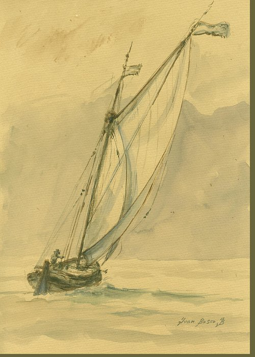 Sail Greeting Card featuring the painting Sailing Ship by Juan Bosco