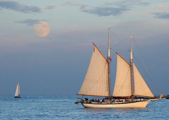 Tallship Greeting Card featuring the photograph Sailing Ship With Moon by Abhi Ganju