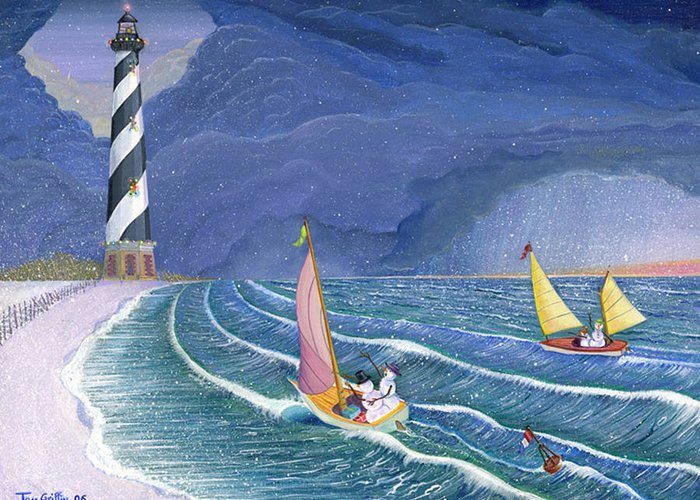 Snowman Greeting Card featuring the painting Sailing Snowmen by Thomas Griffin