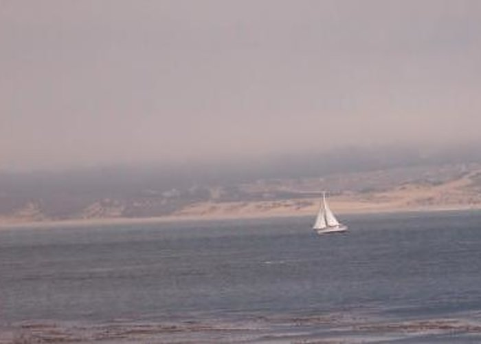 Sailing Sail Sailboat Boating Boat Ocean Pacific Bay Sea Seascape Nature Outdoors Marine Beach Greeting Card featuring the photograph Sailing Solo by Pharris Art