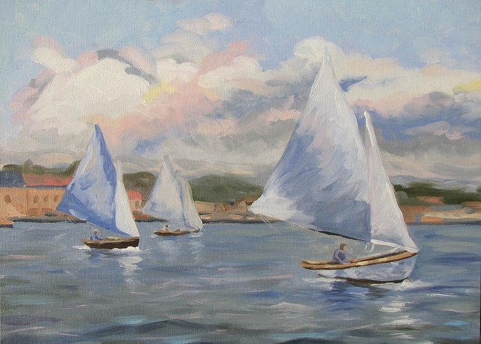 Seascape Greeting Card featuring the painting Sailing Sunday by Jay Johnson