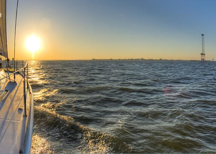 Sailing Greeting Card featuring the photograph Sailing Sunset by Dustin K Ryan