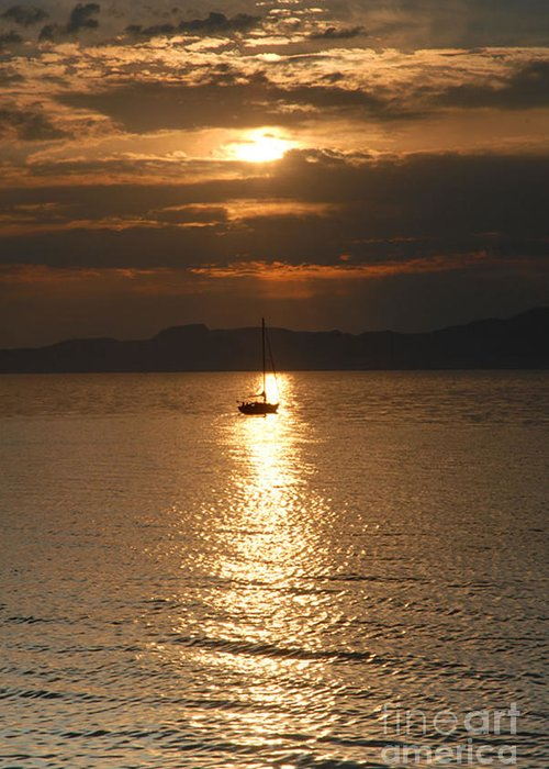 Great Salt Lake Greeting Card featuring the photograph Sailing The Great Salt Lake At Sunset by Dennis Hammer