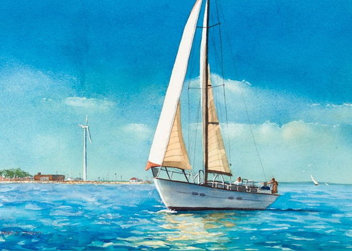 New England Greeting Card featuring the painting Sailing Through The Gut by Laura Lee Zanghetti