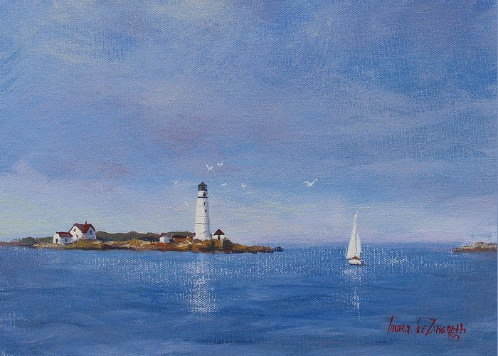 Seascape Greeting Card featuring the painting Sailing To Boston Light by Laura Lee Zanghetti