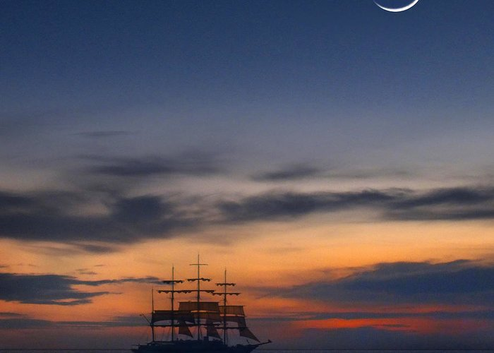 Sailing Greeting Card featuring the photograph Sailing To The Moon 2 by Mike McGlothlen
