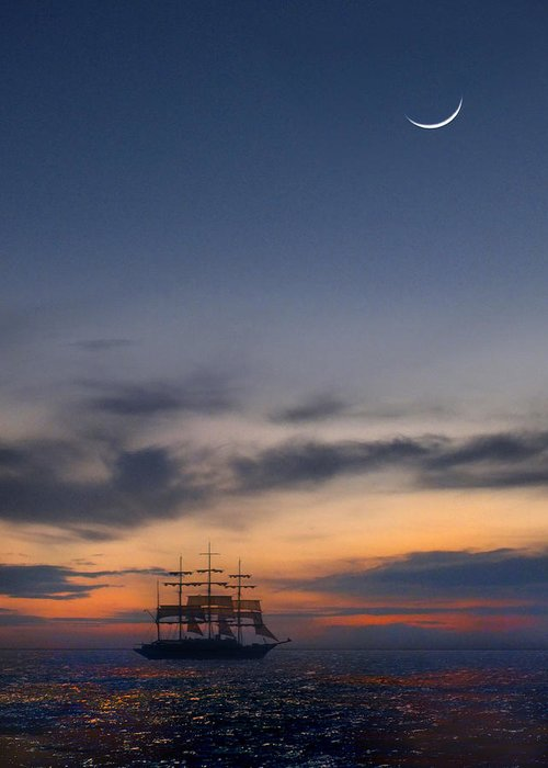 Sail Greeting Card featuring the photograph Sailing To The Moon by Mike McGlothlen
