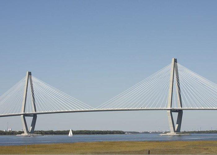 Bridge Greeting Card featuring the photograph Sailing Under The Big Bridge by Bonnes Eyes Fine Art Photography