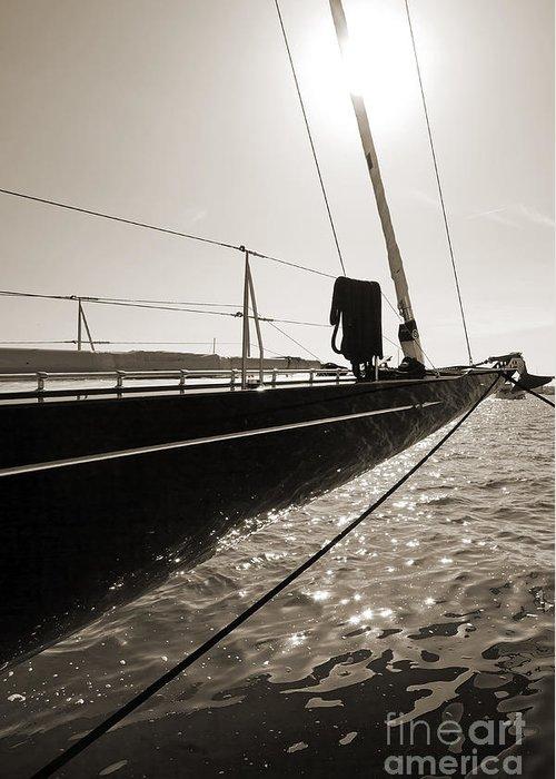 Superyacht Greeting Card featuring the photograph Sailing Yacht Hanuman J Boat Bow by Dustin K Ryan